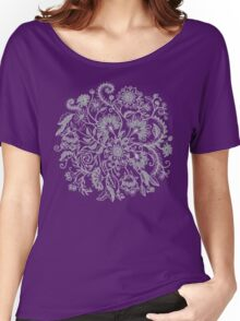Jacobean-Inspired Light on Dark Grey Floral Doodle Women's Relaxed Fit T-Shirt