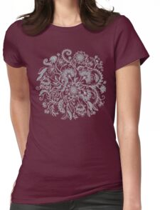 Jacobean-Inspired Light on Dark Grey Floral Doodle Womens Fitted T-Shirt
