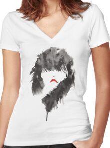 ink girl 1 Women's Fitted V-Neck T-Shirt