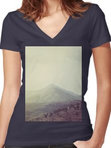 Mountains in the background III Women's Fitted V-Neck T-Shirt