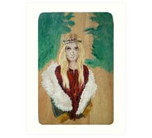 Hippie Girl with coat and red tunic Art Print