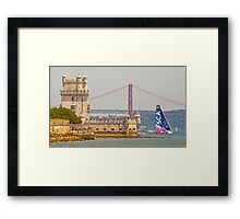 belem tower. sca girls team. volvo ocean race 2015.lisbon.portugal Framed Print