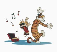 calvin and hobbes dancing with music Kids Clothes