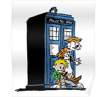 calvin and hobbes police box in action Poster