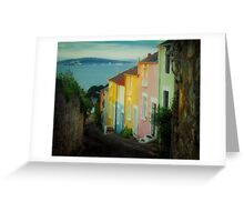 Fishermen's cottages in Mumbles Swansea  Greeting Card