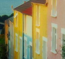 Fishermen's cottages in Mumbles Swansea  Sticker