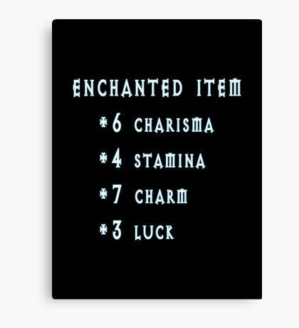 Enchanted Item Bonus Stats RPG T Shirt Canvas Print