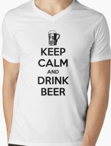 Keep Calm and Drink Beer Mens V-Neck T-Shirt