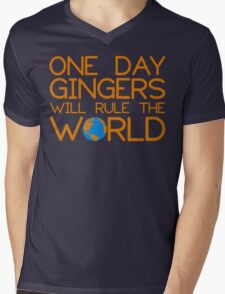 Funny Ginger Hair T Shirt - One Day Gingers Will Rule The World Mens V-Neck T-Shirt