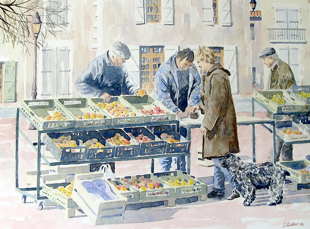 Market scene, Montbron, France by ian osborne