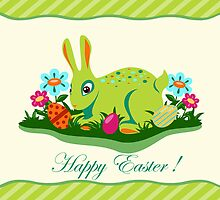 Easter card with rabbit by ativka