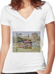 July 4th - God Bless America Women's Fitted V-Neck T-Shirt