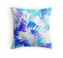 Blue Abstract Paint Pattern Throw Pillow