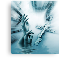 Cross and hand Canvas Print