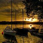Malpas boats at sunset by Simon Marsden