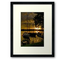 Malpas boats at sunset Framed Print