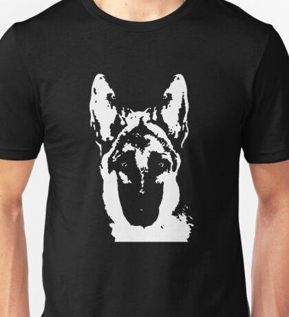 German Shepherd Black & White Stencil Unisex T-Shirt