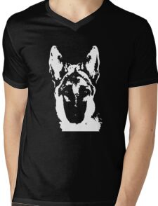 German Shepherd Black & White Stencil Mens V-Neck T-Shirt