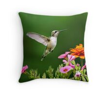 Hummingbird Flying with Colorful Flowers Throw Pillow