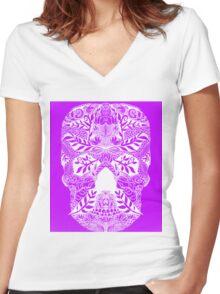 Mauve Skull Women's Fitted V-Neck T-Shirt