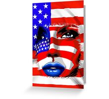 Usa Flag on Girl's Face Greeting Card