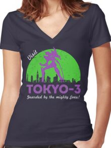 Visit Tokyo-3 Women's Fitted V-Neck T-Shirt