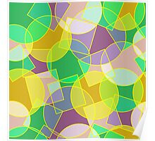 Stained glass colorful geometric mosaic pattern Poster