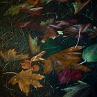 Fall Leaves - charcoal and color pencil by th3pooka
