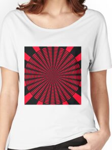 Polka dot love hearts red on black Women's Relaxed Fit T-Shirt