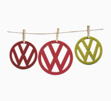VW Badges Drying on the Line T-shirt Kids Clothes