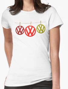 VW Badges Drying on the Line T-shirt Womens Fitted T-Shirt