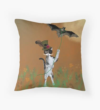 Steampunk Kitty Flying A Bat Throw Pillow