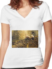 Two Duckies Women's Fitted V-Neck T-Shirt