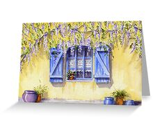 Yellow facade - blue shutters Greeting Card