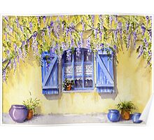 Yellow facade - blue shutters Poster