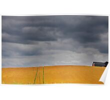 Fields on a stormy weather Poster