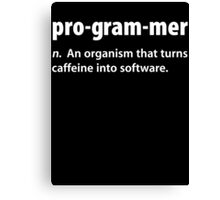 Funny Programmer Coffee T Shirt Canvas Print
