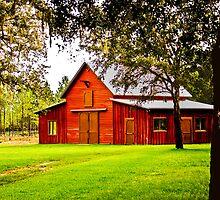 09-112 ~ Red Barn on a Summer Evening by djyoriginals