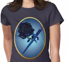 The Black Rose and Dagger Oval Womens Fitted T-Shirt