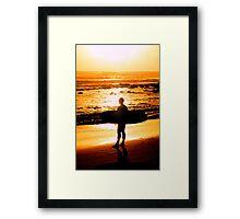 Surfer - Sunrise at Alexander Headlands Framed Print