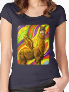 The Flying Llama Dude Women's Fitted Scoop T-Shirt