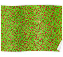 Silicon Atoms Mandala Red Green Poster