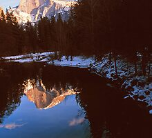 REFLECTION OF HALF DOME IN MERCED RIVER by Chuck Wickham