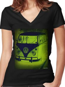 Split Screen VW Combi - New Products Women's Fitted V-Neck T-Shirt