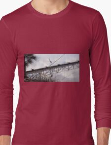 Bird on the Wire - Egret at Erskine River Long Sleeve T-Shirt