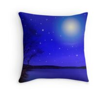 Moon and Stars Landscape Throw Pillow