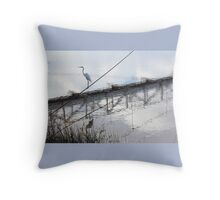Bird on the Wire - Egret at Erskine River Throw Pillow
