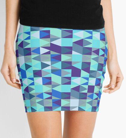 Abstract Blue Diamond Pattern Mini Skirt