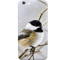 Snowy Chickadee Bird iPhone Case/Skin