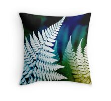 Blue Fern Leaf Art Throw Pillow